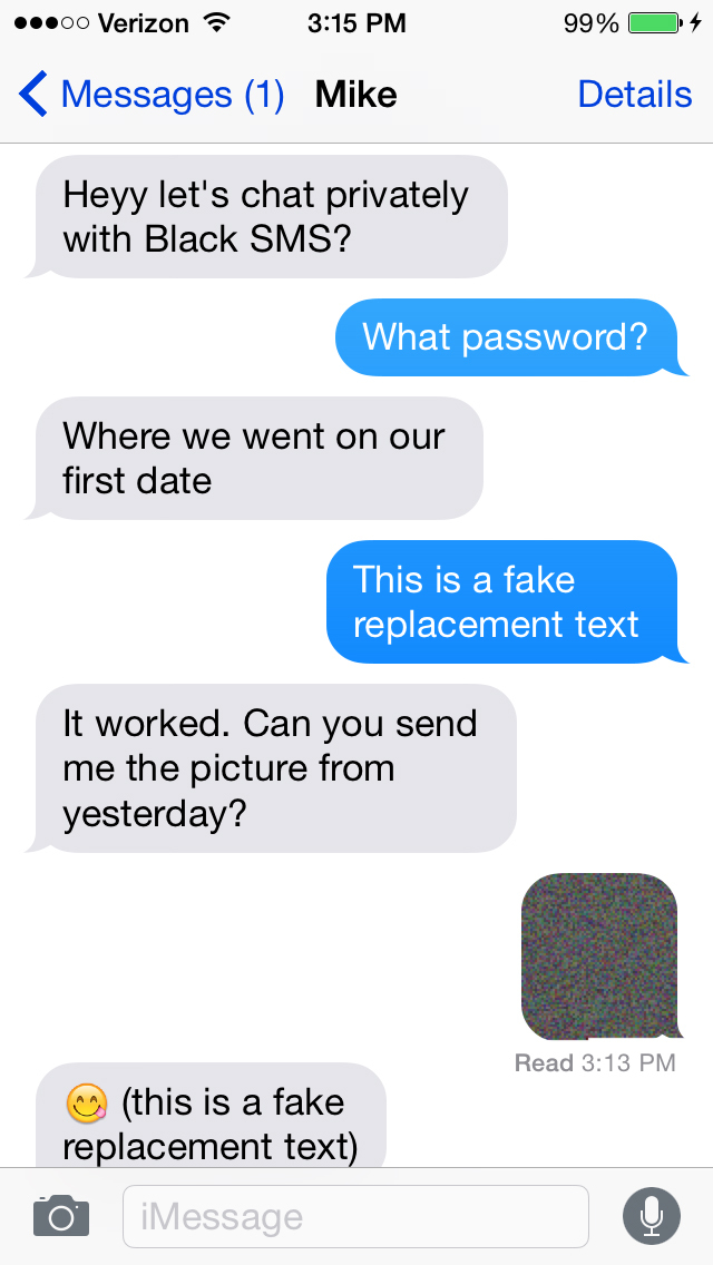iPhone Giveaway of the Day - Black SMS - Protected Texts