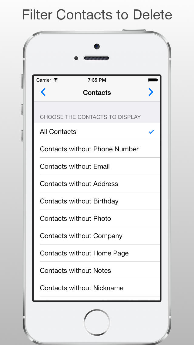 how to mark and delete contacts from iphone